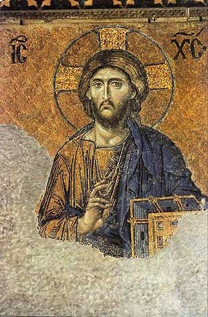 Hagiography - Example of Greek Orthodox visual hagiography. This is one of the best known surviving Byzantine mosaics in Hagia Sophia – Christ Pantocrator flanked by the Virgin Mary and John the Baptist made in the 12th century.