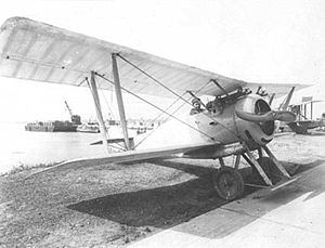 Hanriot HD.1 - Post-war U.S. Navy machine with hydrovanes and floatation bags - note widely separated twin guns.