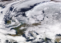 "Satellite view showing Europe partially covered in snow under the influence of the anticyclonic cold wave named Hartmut or the ""Beast from the East"" on 27 February 2018"
