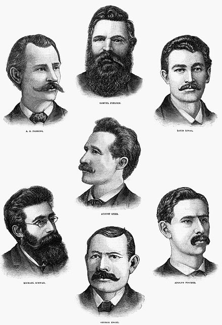 Engraving of the seven anarchists sentenced to die for Degan's murder. An eighth defendant, Oscar Neebe, not shown here, was sentenced to 15 years in prison. - Haymarket affair