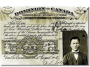Multiculturalism in Canada - Head Tax Receipt - The head tax was introduced in 1885, as a means of controlling Chinese immigration.