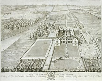 Heanton Satchville, Petrockstowe - Heanton Hall and Park, an engraving by William Henry Toms, 1739