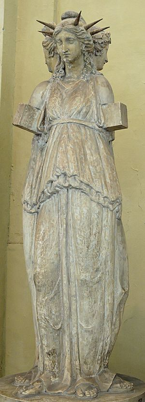 Hecate - The Hecate Chiaramonti, a Roman sculpture of triple Hecate, after a Hellenistic original (Museo Chiaramonti, Vatican Museums)
