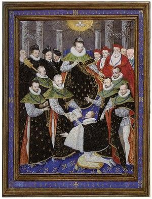 30 novembre 1676: Huitième promotion - Liste des chevaliers de l'ordre du Saint-Esprit 300px-Henri_III_pr%C3%A9sidant_la_premi%C3%A8re_c%C3%A9r%C3%A9monie_de_l%27ordre_du_Saint_Esprit