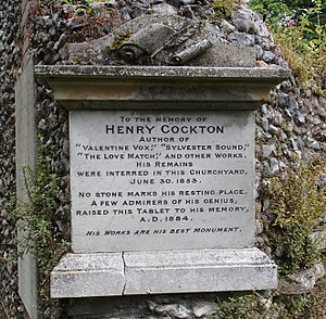 Henry Cockton - Memorial plaque to Henry Cockton on the wall of the Charnel House in the Great Churchyard in Bury St. Edmunds.