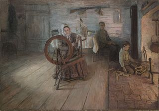 Spinning by Firelight - The Boyhood of George Washington Gray