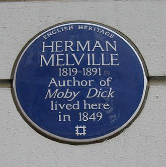 Craven Street - The blue plaque to Herman Melville at No. 25.