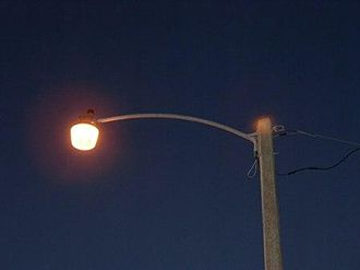 History of street lighting in the United States - Example of a high-pressure sodium vapor streetlight