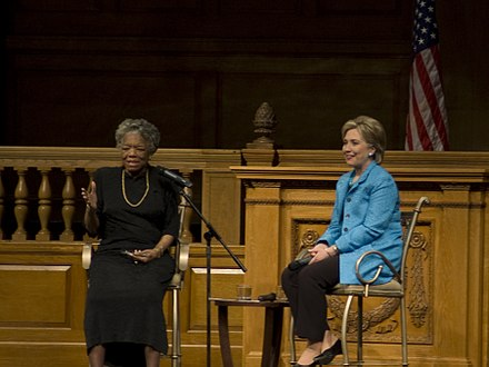 Angelou and Hillary Clinton at an event in North Carolina in 2008 Hillary Clinton and Maya Angelou (2423852927).jpg