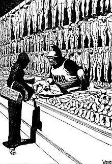 Editorial мультфильм, в котором Смерть покупает тела от войны.