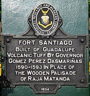 "Historical markers of the Philippines - ""Fort Santiago"" (1934)"