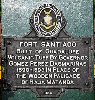 """Historical markers of the Philippines - """"Fort Santiago"""" (1934)"""