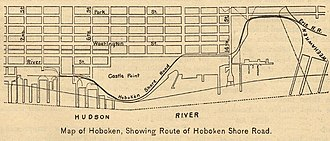 Hoboken Shore Railroad - Image: Hoboken Shore Road Route Map