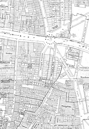 Bartlett's Buildings - Holborn Circus on an 1870s Ordnance Survey map, Bartlett's Buildings centre.