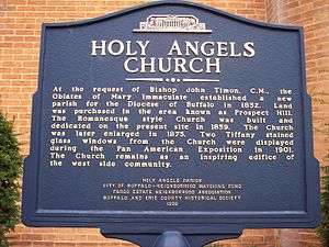 Holy Angels Church (Buffalo, New York) - Image: Holy angels church sign