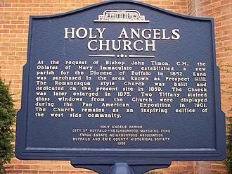 Holy Angels Church (Buffalo, New York) - Image: Holy angels church sign