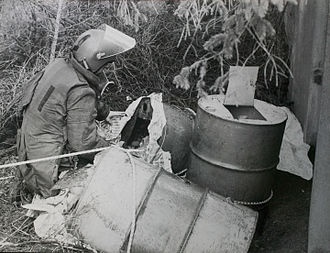 Asymmetric warfare - Oil-drum roadside IED removed from culvert in 1984