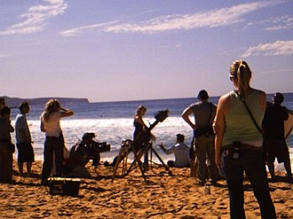 Summer Bay - Indiana Evans, Mark Furze and the crew during filming