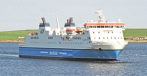 MV Hrossey leaving Kirkwall