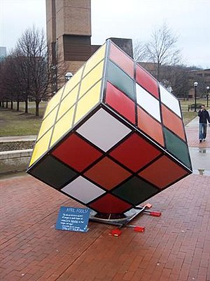 Rubik's Cube in popular culture - Large Rubik's Cube built on the University of Michigan's North Campus
