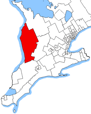 Huron—Bruce (provincial electoral district) - Huron—Bruce in relation to southern Ontario ridings