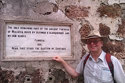 Photo of Afonso de Albuquerque and A Famosa marble plaque