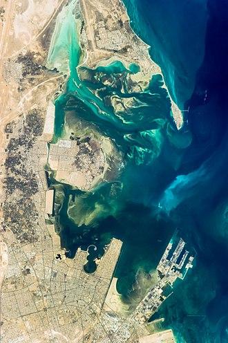 Tarout Island - Northeast Dammam, Saihat, Qatif, Tarout Island, and Ras Tanura, taken from the International Space Station.