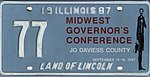 Illinois 1987 Governor's Conference license plate - 77.jpg