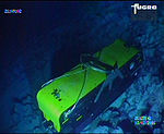 Image of the lost towfish fed from the ocean floor back to the surface by the ROV; source ATSB, photo by John Bethea.jpg