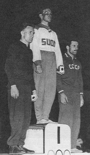 Imre Polyák - Polyák (left) at the 1956 Olympics