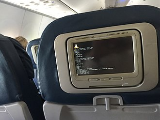 Linux - In flight entertainment system booting up showing the Linux logo