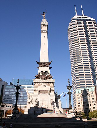 Indiana in the American Civil War - The Circle in Indianapolis was built to honor the war dead.