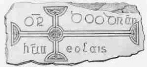Muintir Eolais - Image: Inscription on the 10th century tombstone of Ódhrán of Muintir Eolais