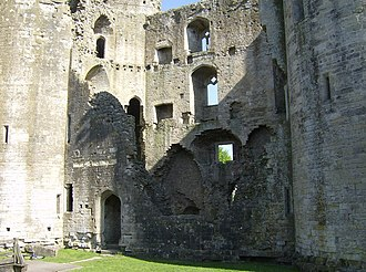 Nunney Castle - The interior of Nunney Castle, showing the three floors