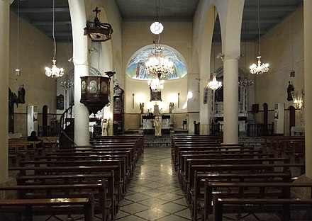 Inside a Syriac Catholic Church building in Damascus, capital city of Syria. Interiors of the Syriac Catholic Cathedral, Damascus.jpg
