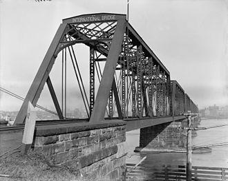 International Railway Bridge - Photo from ca. 1900-1915, from Canadian side looking towards Buffalo