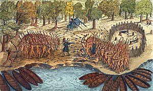 Military history of Canada - Based on a drawing by Samuel de Champlain from his 1609 voyage, this engraving depicts a battle between Iroquois and Algonquian tribes near the southern end of Lake Champlain.