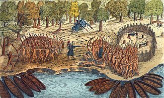 Iroquois - Engraving based on a drawing by Champlain of his 1609 voyage. It depicts a battle between Iroquois and Algonquian tribes near Lake Champlain