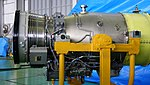Ishikawajima-Harima F3-IHI-30B turbofan engine fan & compressor, combustor section at JASDF Iruma Air Base November 3, 2014.jpg