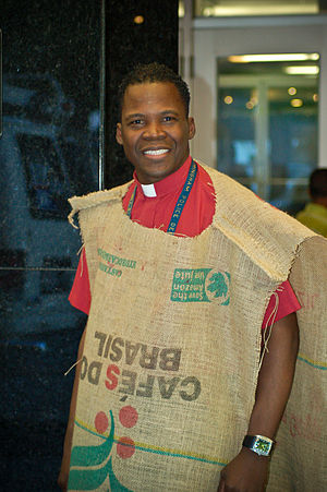 Sackcloth - A minister wearing a burlap coffee sack.