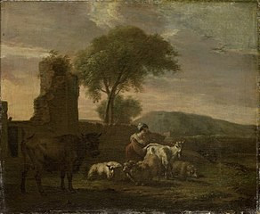 Italian landscape with sheperdess and flocks