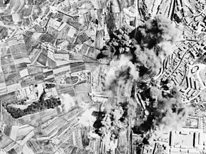 Operation Strangle (World War II) - Aerial bombing of Nazi railroad yards at Siena during Operation Strangle. On the alternate line from Pisa and Florence south to Rome, the Siena yards were bombed by Mediterranean Allied Air Force Bombers.