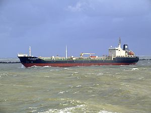 Ivan Kruzenshtern - IMO 9171187 leaving Port of Rotterdam, Holland 21-Jan-2007.jpg
