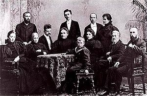 Elisabeth Järnefelt - The Järnefelt family with composer Jean Sibelius Standing: Arvid, Armas, Eero and his wife Saimi. Seated: Aino Sibelius, Elisabeth, Jean Sibelius, Emmy (Arvid's wife) and Eero (Arvid's son), Elli, Mikael Clodt von Jürgensburg (Elisabeth's brother) and Kasper. This picture was taken after August Alexander Järnefelt's death in 1896.