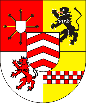 William, Duke of Jülich-Cleves-Berg - upper left:Cleves, upper right: Julich,  down left: Berg, down right: Mark,  over all: Ravensberg