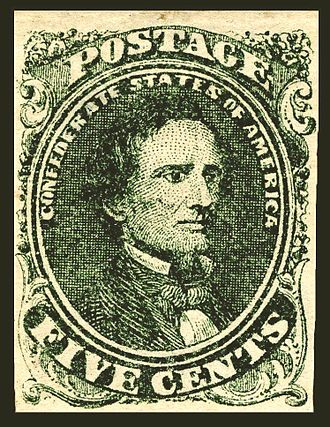 Postage stamps and postal history of the Confederate States - Jefferson Davis1st Confederate stampIssue of 1861