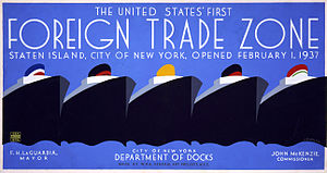 Foreign-trade zones of the United States - 1937 poster celebrating the United States' first foreign trade zone, Staten Island.