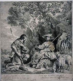 Jacob Neefs - A Shepherdess Spurns a Shepherd's Love, engraving by Jacob Neefs after a drawing by Jacob Jordaens, c. 1640