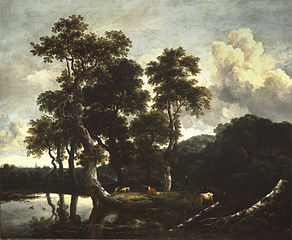 Grove of Large Oak Trees at the Edge of a Pond