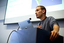 Jake Orlowitz, The Wikipedia Library, at Wikimania 2014.jpg